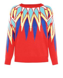 Cutie Red Multicoloured Spike Print Jumper | New Look
