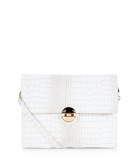 White Textured Portfolio Bag  | New Look