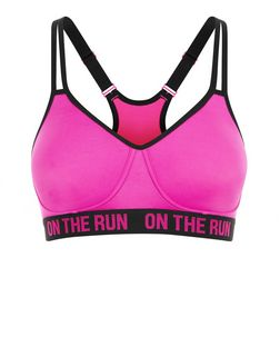 Pink On The Run Print Non Wired Sports Bra | New Look