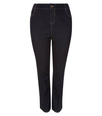 Curves Navy Straight Leg Jeans