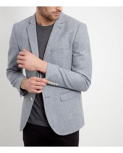 Blue Herringbone Blazer  | New Look