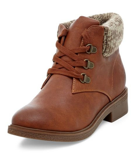 Teens Tan Knit Cuff Lace Up Ankle Boots  | New Look
