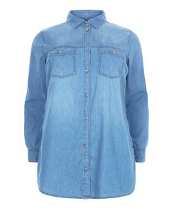Curves Blue Denim Double Pocket Long Sleeve Shirt  | New Look