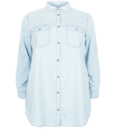 Curves Blue Denim Double Pocket Front Shirt | New Look