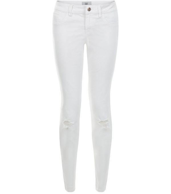 White Ripped Knee Skinny Jeans