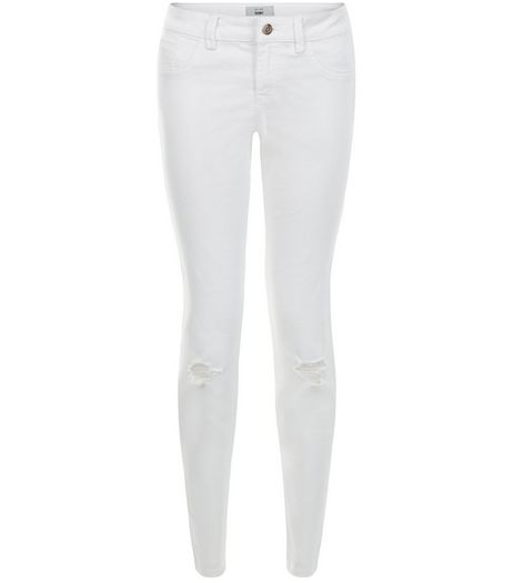 White Ripped Knee Skinny Jeans  | New Look