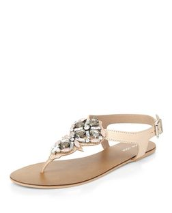 Stone Leather Embellished Sandals  | New Look