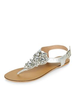 Silver Leather Embellished Sandals | New Look