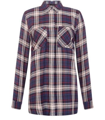 Black Check Double Pocket Longline Shirt