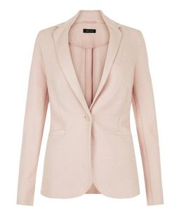 Shell Pink Jersey Blazer  | New Look