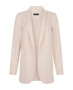 Shell Pink Curved Hem Blazer  | New Look