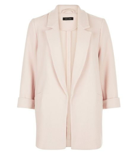 Shell Pink Waffle Texture Longline Blazer  | New Look