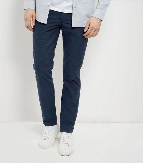 Blue Brushed Slim Fit Chinos  | New Look