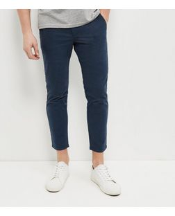 Blue Brushed Tapered Trousers  | New Look