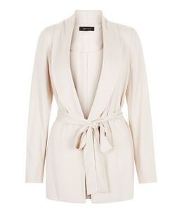 Stone Cupro Belted Blazer | New Look