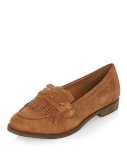 Wide Fit Tan Suede Fringe Loafers  | New Look