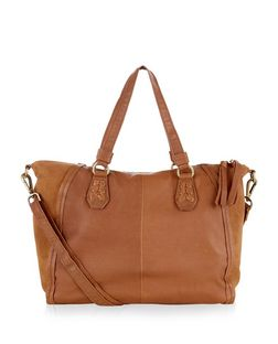 Tan Leather Slouch Tote Bag  | New Look