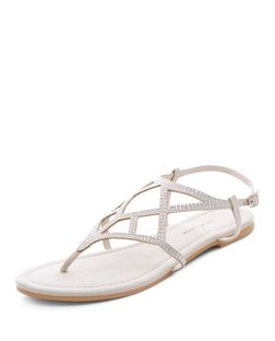 Stone Suedette Diamante Strap Sandals  | New Look