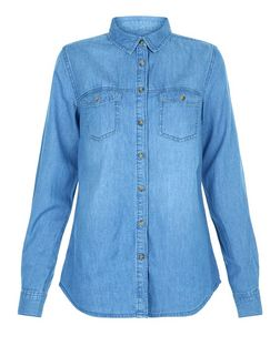 Tall Blue Double Pocket Denim Shirt  | New Look