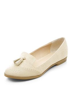 Stone Contrast Embossed Tassel Front Loafers  | New Look