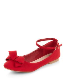 Teens Red Suede Bow Ankle Strap Pumps  | New Look