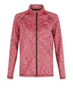 Only Pink Space Dye Zip Up Long Sleeve Sports Top | New Look