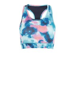 Only Blue Abstract Print Bra  | New Look