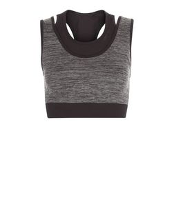 Only Grey Contrast Trim Sports Bra | New Look