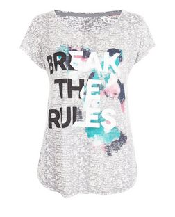 Only Grey Break The Rules Print Sports T-Shirt | New Look