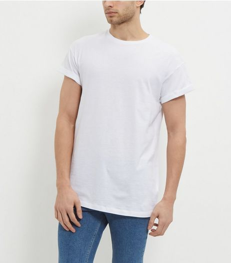 White Roll Sleeve T-Shirt  | New Look