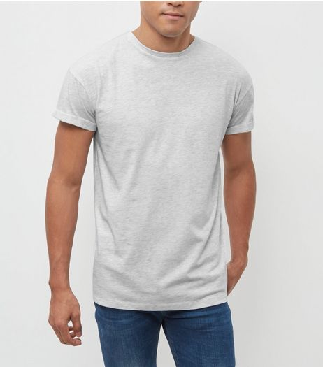 Pale Grey Roll Sleeve T-Shirt  | New Look