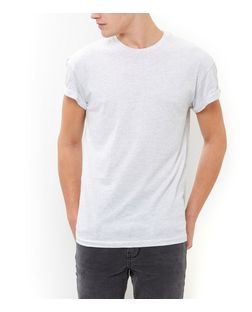 Light Grey Roll Sleeve T-Shirt  | New Look
