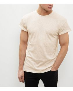 Stone Roll Sleeve T-Shirt | New Look
