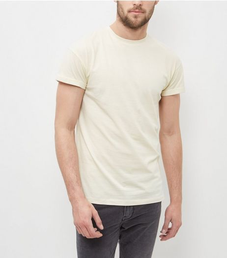 Light Yellow Roll Sleeve T-Shirt  | New Look