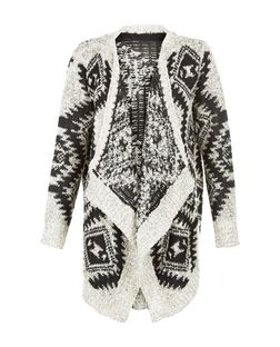 Mela Grey Aztec Waterfall Cardigan | New Look