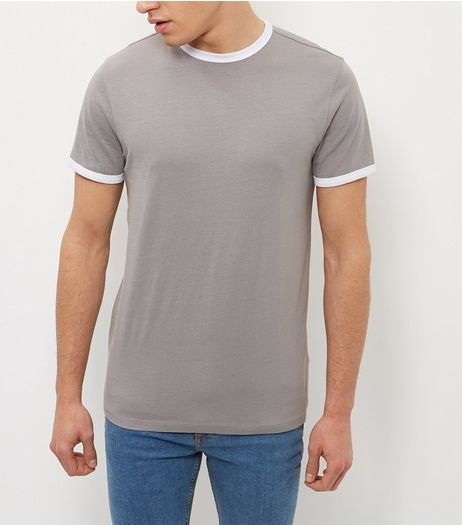 Grey Contrast Trim Crew Neck T-Shirt  | New Look