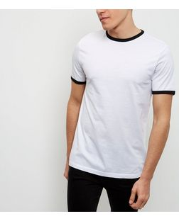 White Contrast Trim Crew Neck T-Shirt | New Look