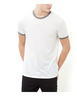 Stone Contrast Trim Crew Neck T-Shirt  | New Look