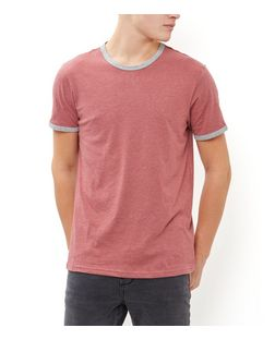 Red Contrast Trim Crew Neck T-Shirt  | New Look