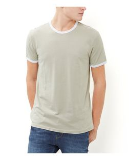 Khaki Contrast Trim Crew Neck T-Shirt  | New Look