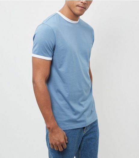 Blue Contrast Trim Crew Neck T-Shirt | New Look