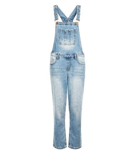 Blue Bleached Denim Cigarette Dungarees  | New Look