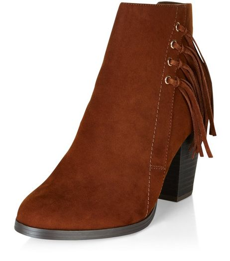 Tan Suedette Tassel Side Block Heel Ankle Boots  | New Look