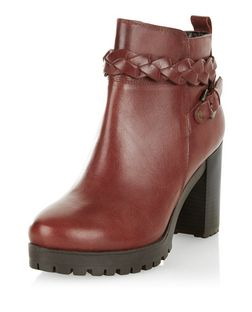 Dark Red Leather Plaited Strap Block Heel Ankle Boots  | New Look