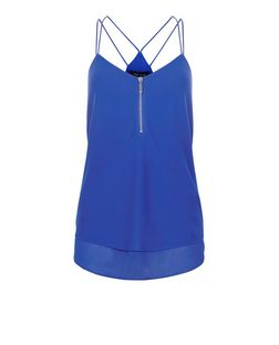 Blue Zip Front Cami  | New Look