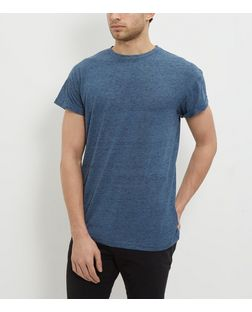 Blue Space Dye Roll Sleeve Crew Neck T-Shirt  | New Look