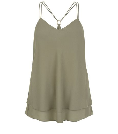 Khaki Ring Back Layered Cami | New Look