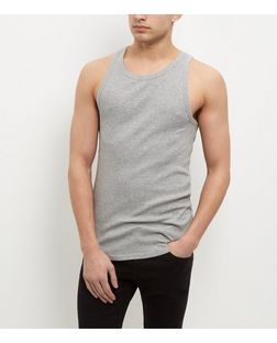 Grey Ribbed Vest  | New Look
