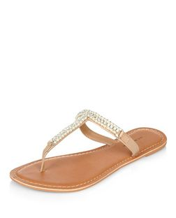 Stone Leather Pearl Embellished T-Bar Sandals  | New Look