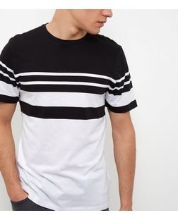 White Stripe Panel T-Shirt | New Look